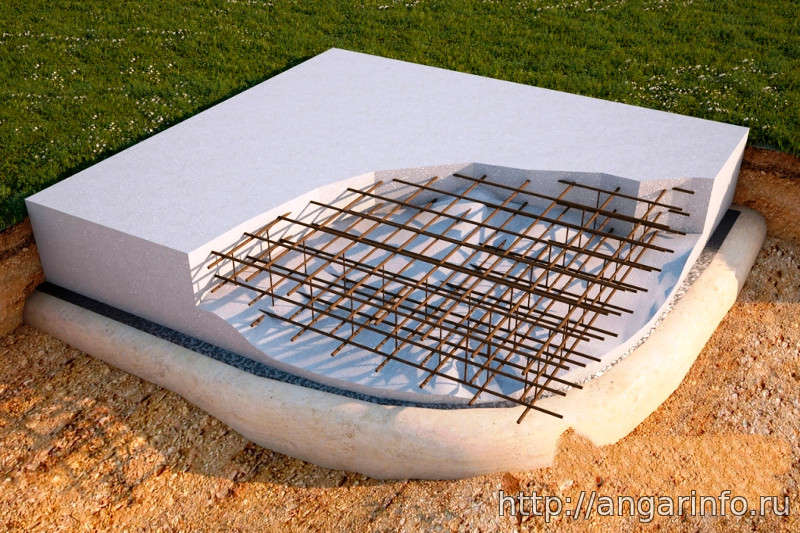 Плитный фундамент ангара